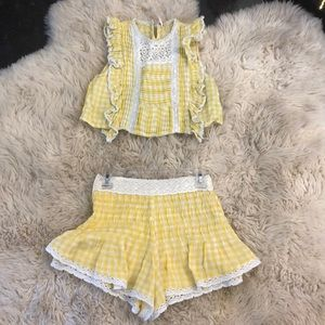 Free People Yellow Gingham Crop Top & Shorts